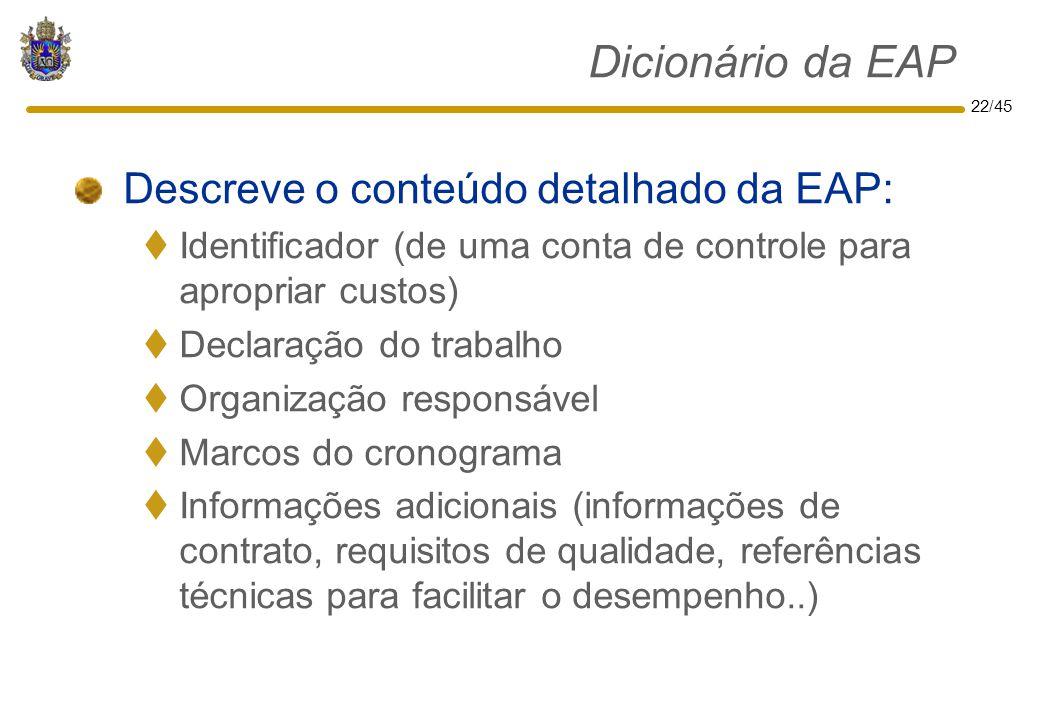 Dicionário da EAP Descreve o conteúdo detalhado da EAP: