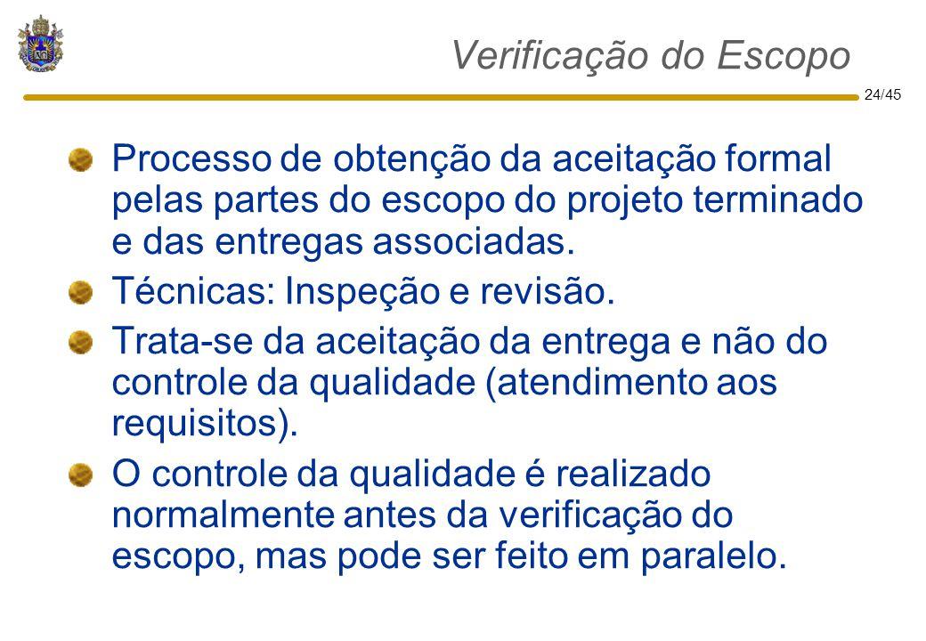 Verificação do Escopo Processo de obtenção da aceitação formal pelas partes do escopo do projeto terminado e das entregas associadas.