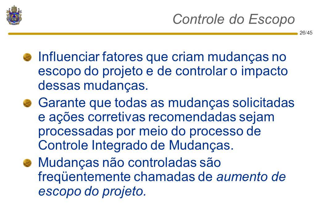 Controle do Escopo Influenciar fatores que criam mudanças no escopo do projeto e de controlar o impacto dessas mudanças.