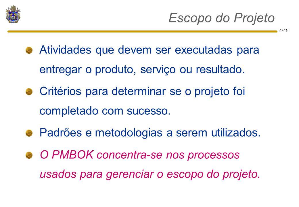 Escopo do Projeto Atividades que devem ser executadas para entregar o produto, serviço ou resultado.