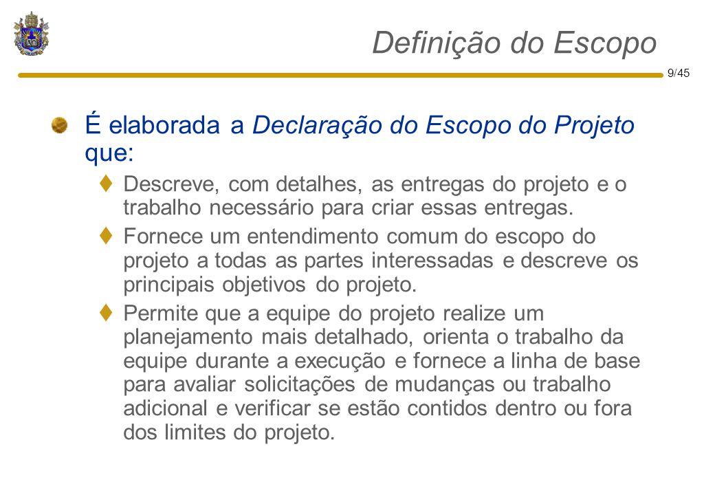 Definição do Escopo É elaborada a Declaração do Escopo do Projeto que: