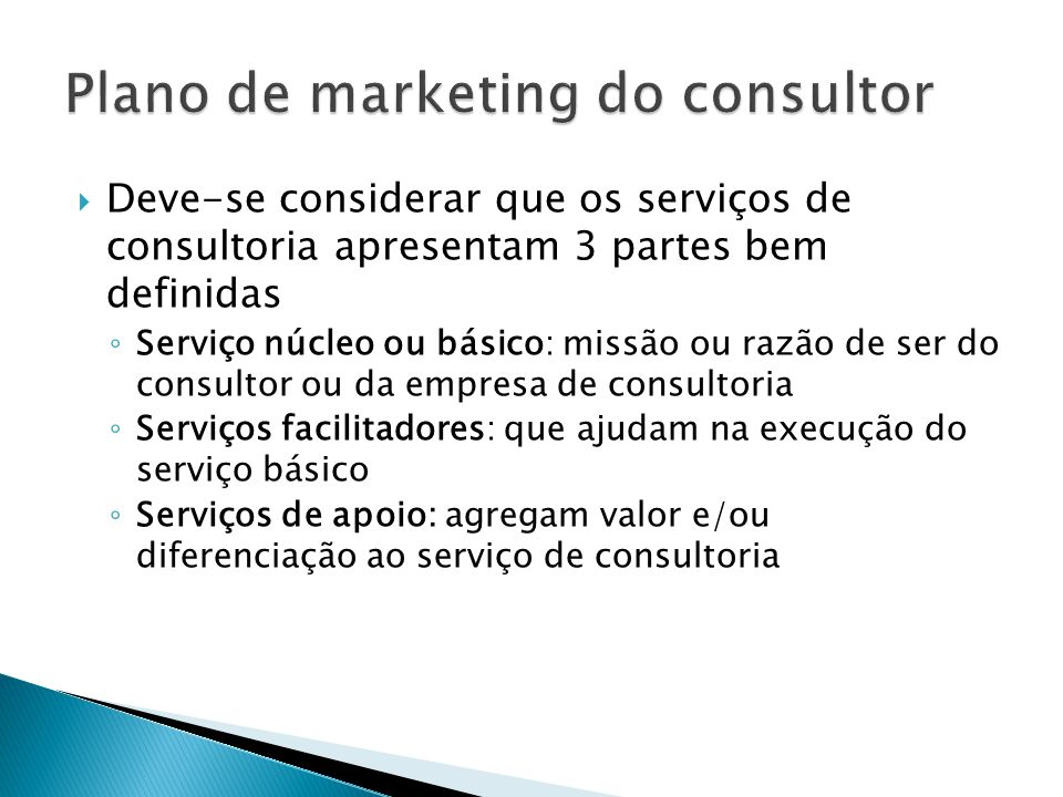 Plano de marketing do consultor