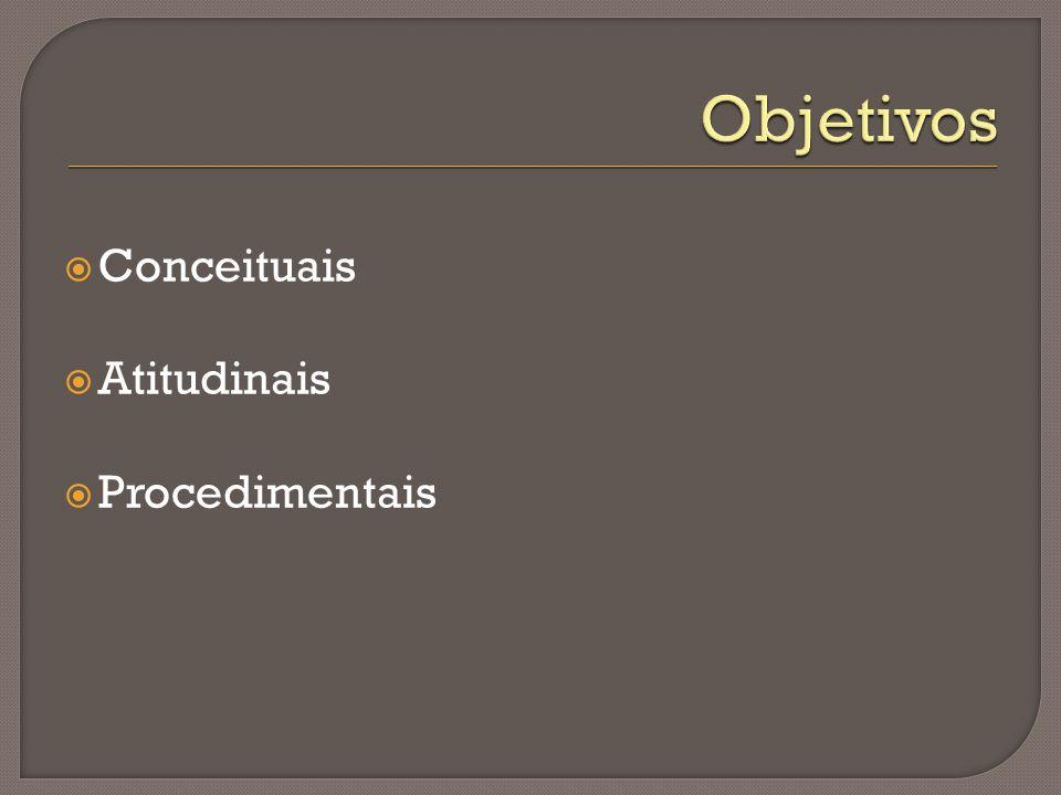 Objetivos Conceituais Atitudinais Procedimentais