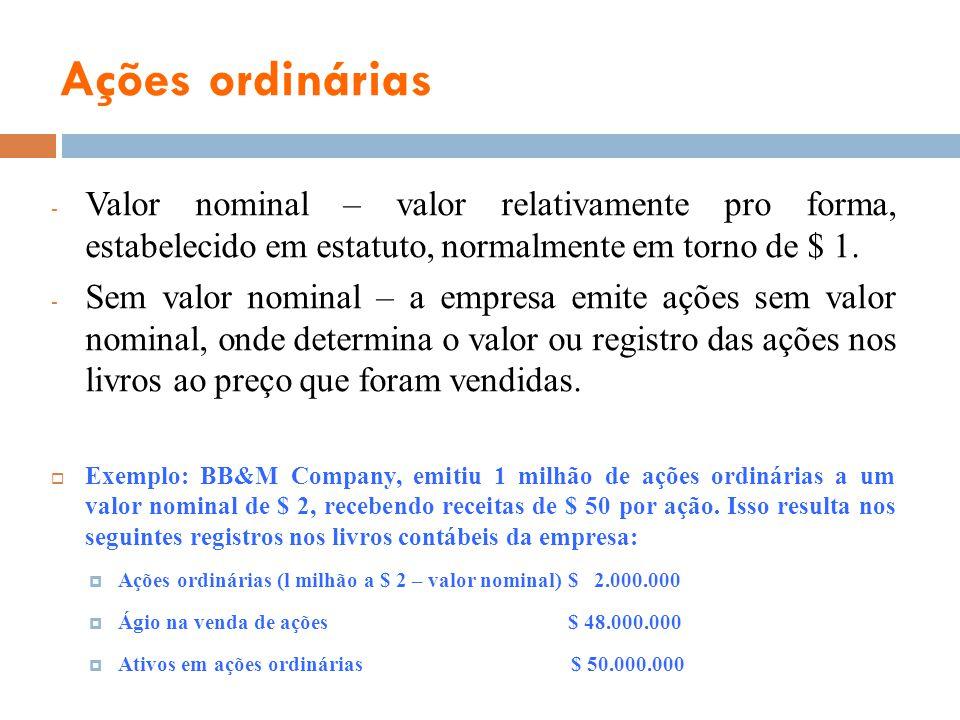 Ações ordinárias Valor nominal – valor relativamente pro forma, estabelecido em estatuto, normalmente em torno de $ 1.
