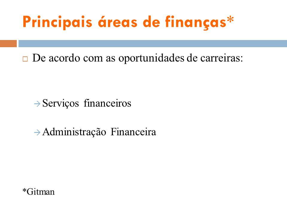 Principais áreas de finanças*