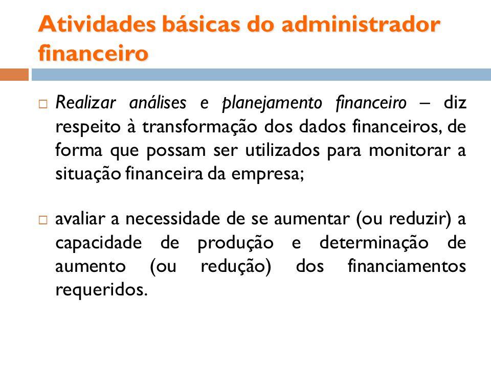 Atividades básicas do administrador financeiro