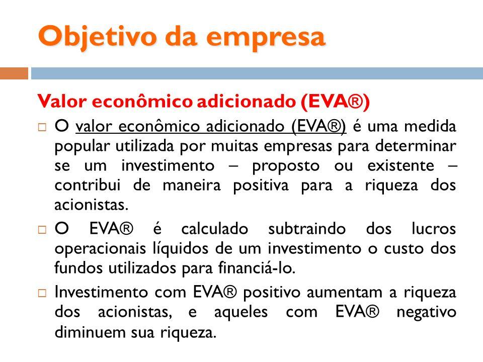 Objetivo da empresa Valor econômico adicionado (EVA®)