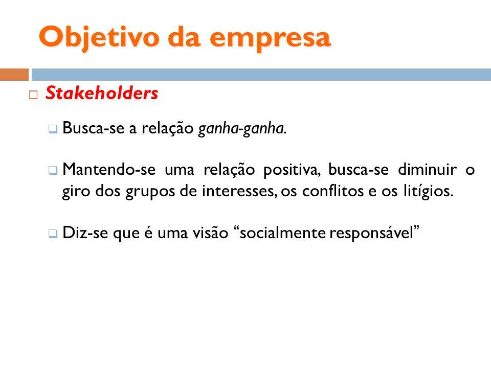 Objetivo da empresa Stakeholders Busca-se a relação ganha-ganha.