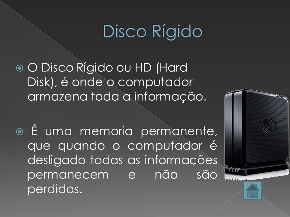 Disco Rígido O Disco Rígido ou HD (Hard Disk), é onde o computador armazena toda a informação.