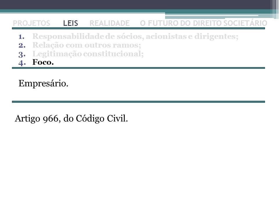 Empresário. Artigo 966, do Código Civil. PROJETOS LEIS REALIDADE