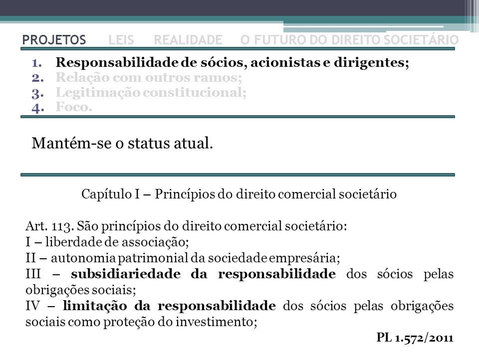 Capítulo I – Princípios do direito comercial societário