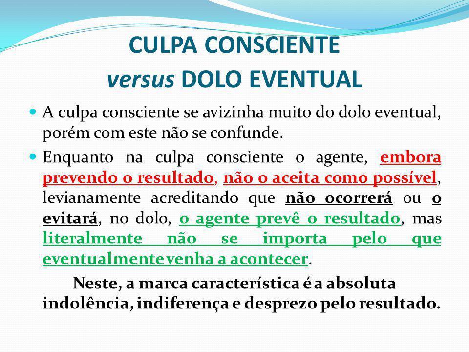 CULPA CONSCIENTE versus DOLO EVENTUAL