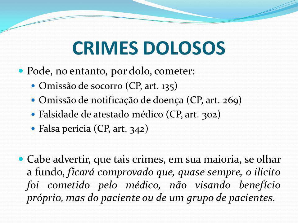 CRIMES DOLOSOS Pode, no entanto, por dolo, cometer: