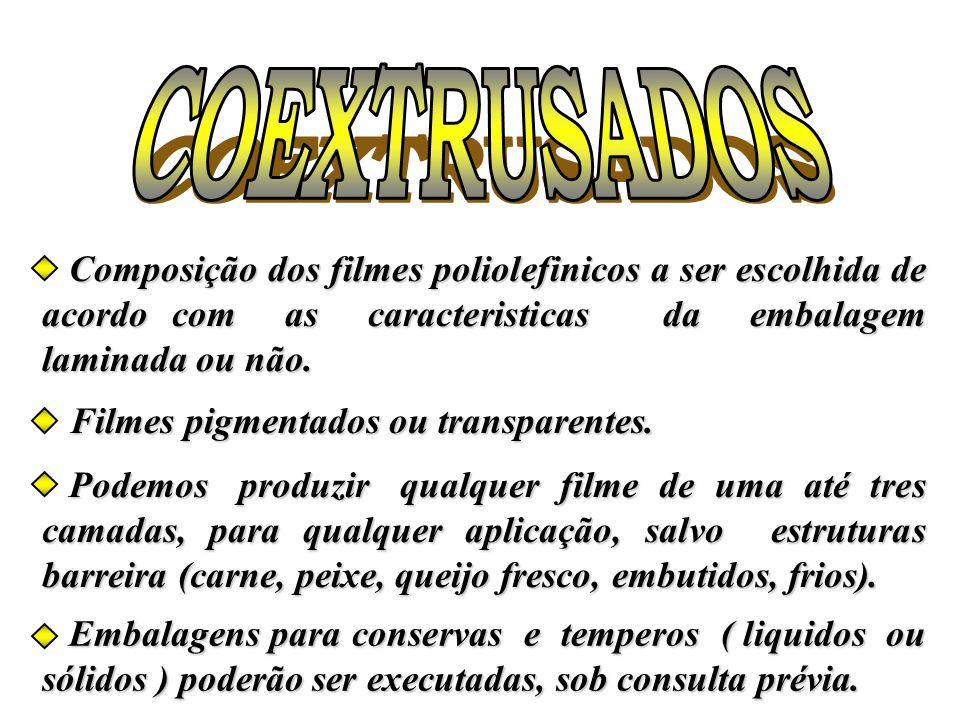 COEXTRUSADOS Composição dos filmes poliolefinicos a ser escolhida de acordo com as caracteristicas da embalagem laminada ou não.