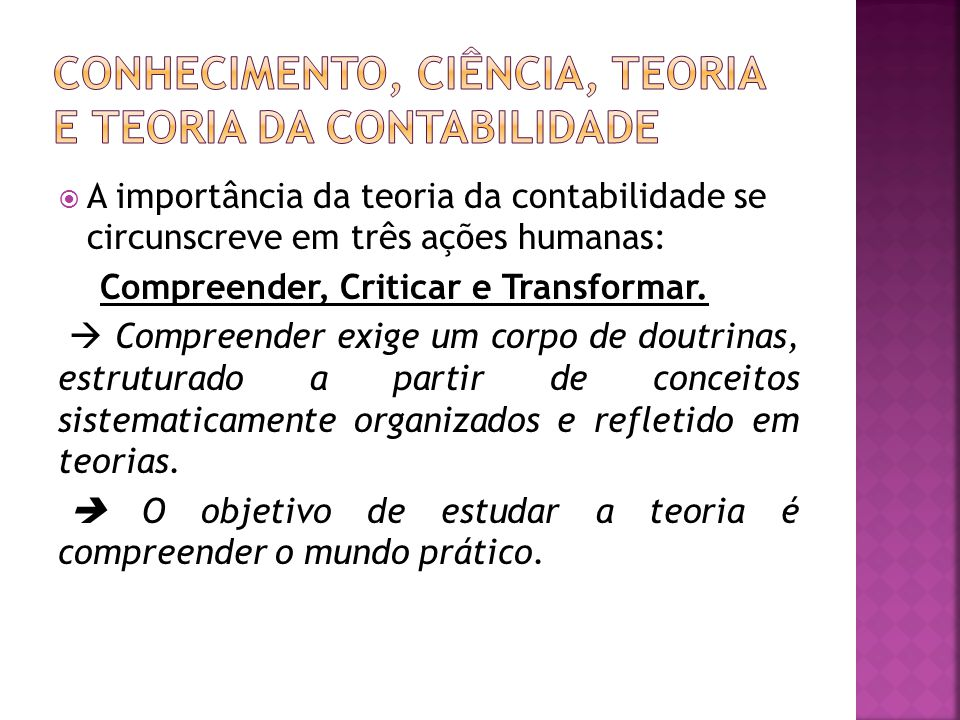 Conhecimento, ciência, teoria e teoria da contabilidade