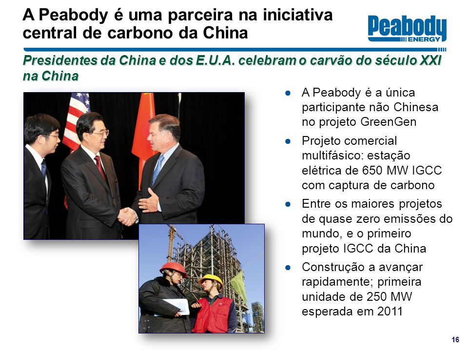 A Peabody é uma parceira na iniciativa central de carbono da China