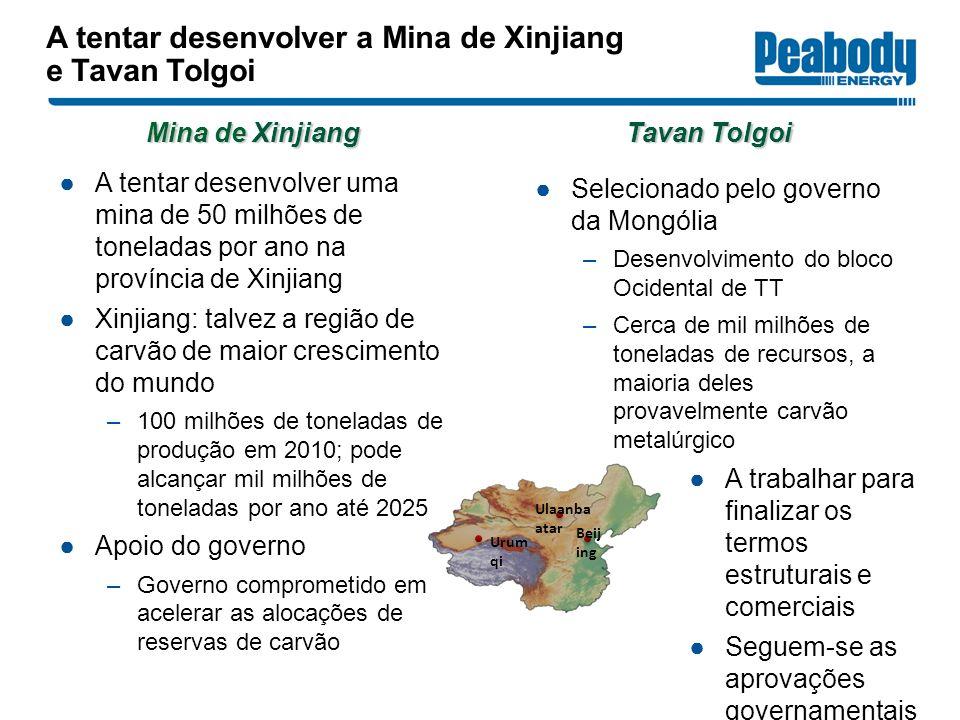 A tentar desenvolver a Mina de Xinjiang e Tavan Tolgoi
