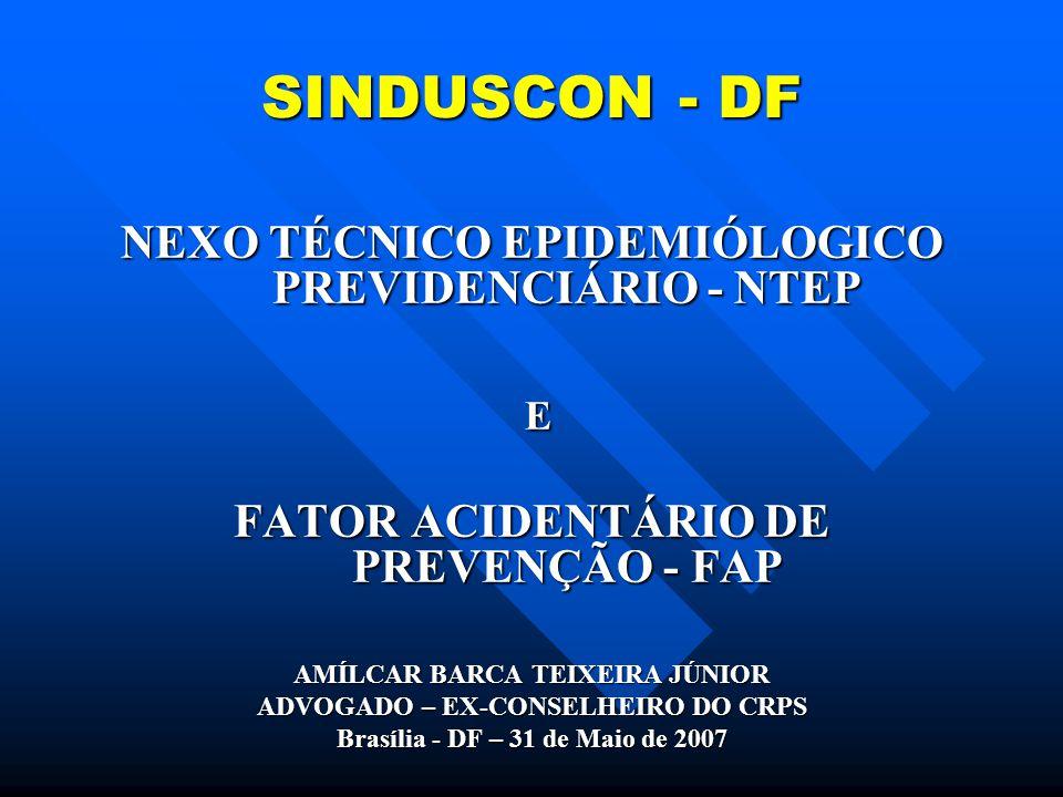 SINDUSCON - DF E NEXO TÉCNICO EPIDEMIÓLOGICO PREVIDENCIÁRIO - NTEP