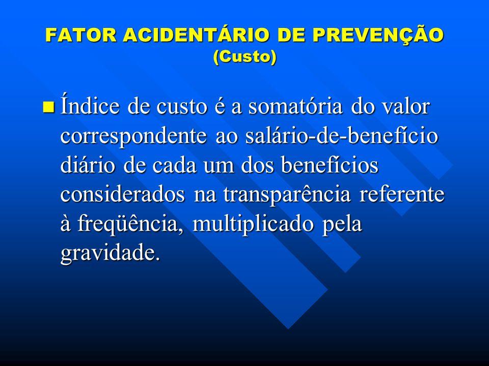 FATOR ACIDENTÁRIO DE PREVENÇÃO (Custo)