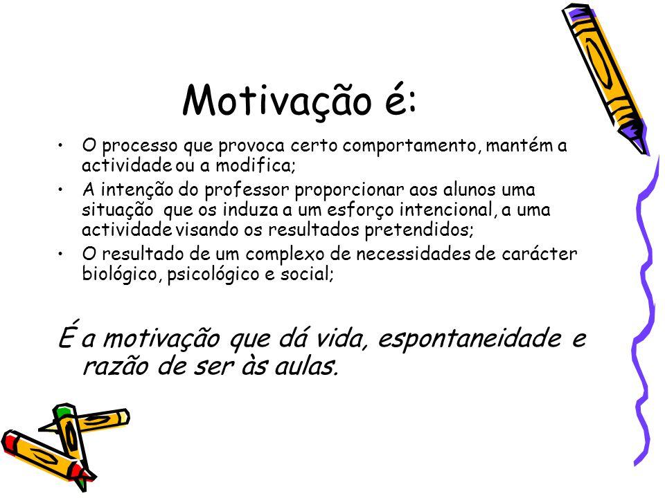 Motivação é: O processo que provoca certo comportamento, mantém a actividade ou a modifica;