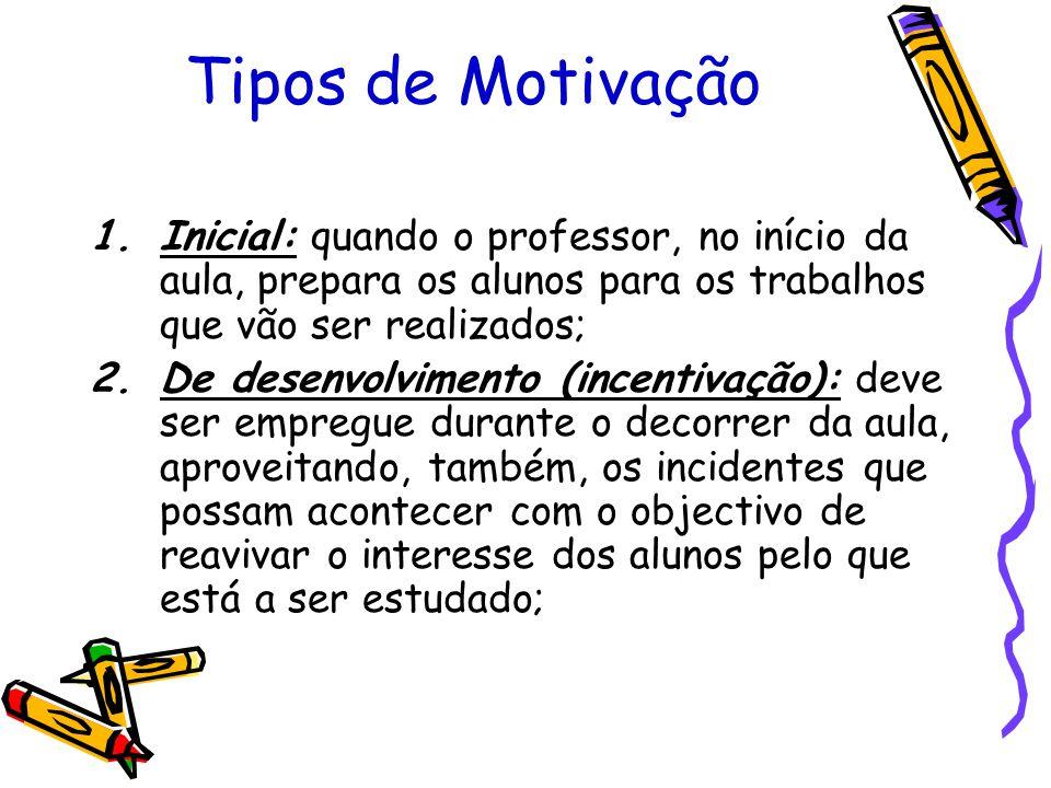 Tipos de Motivação Inicial: quando o professor, no início da aula, prepara os alunos para os trabalhos que vão ser realizados;