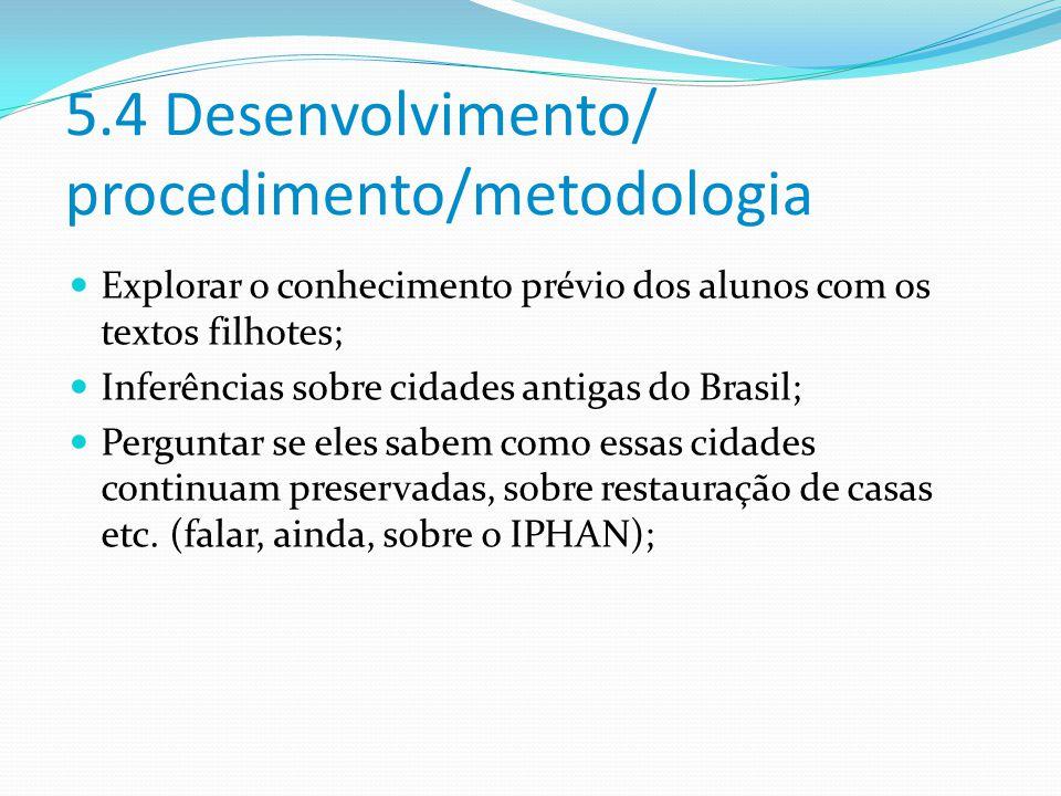 5.4 Desenvolvimento/ procedimento/metodologia
