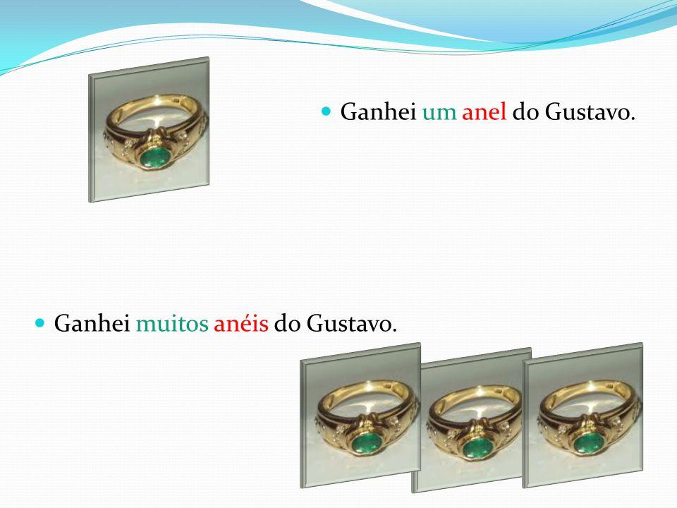 Ganhei um anel do Gustavo.
