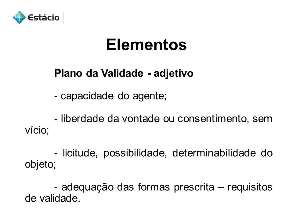Elementos Plano da Validade - adjetivo - capacidade do agente;