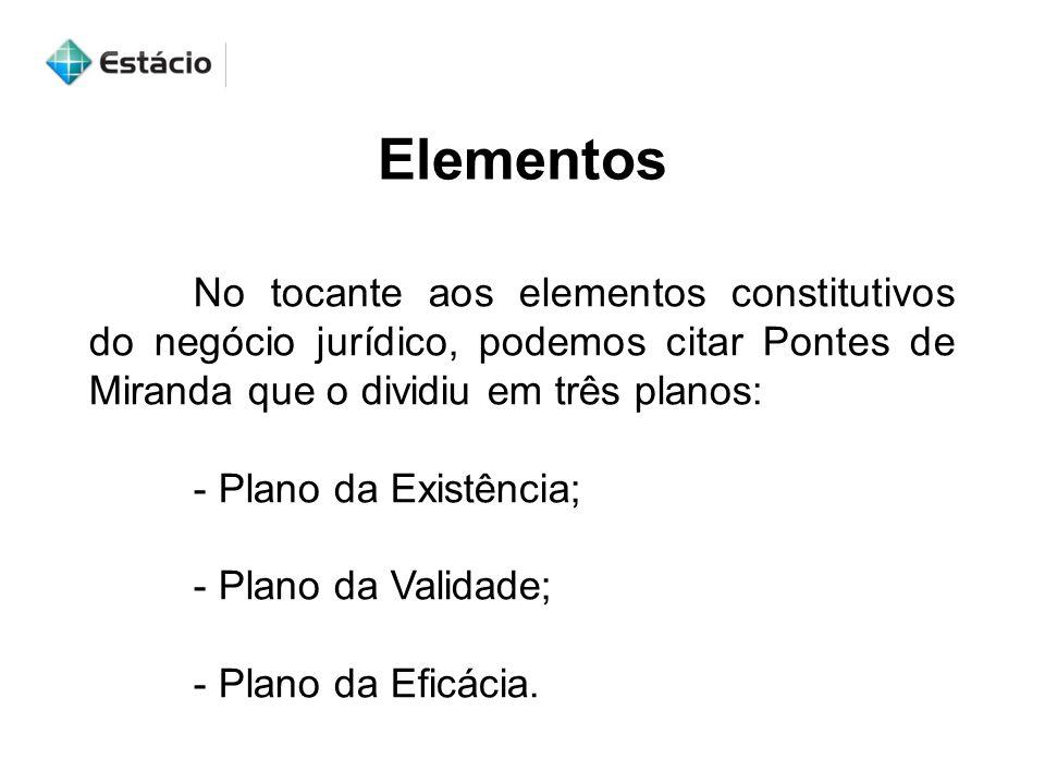 Elementos No tocante aos elementos constitutivos do negócio jurídico, podemos citar Pontes de Miranda que o dividiu em três planos:
