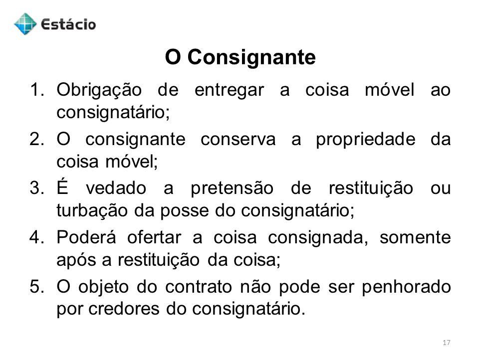 O Consignante Obrigação de entregar a coisa móvel ao consignatário;