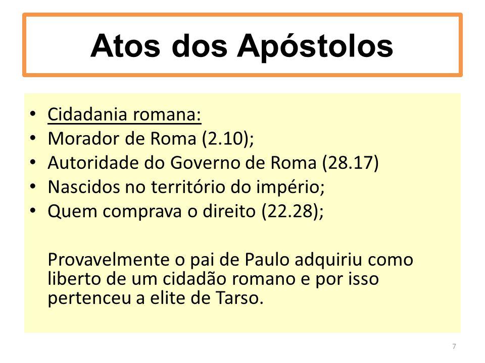 Atos dos Apóstolos Cidadania romana: Morador de Roma (2.10);