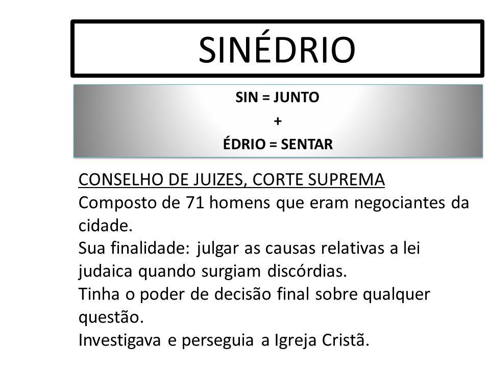 SIN = JUNTO + ÉDRIO = SENTAR