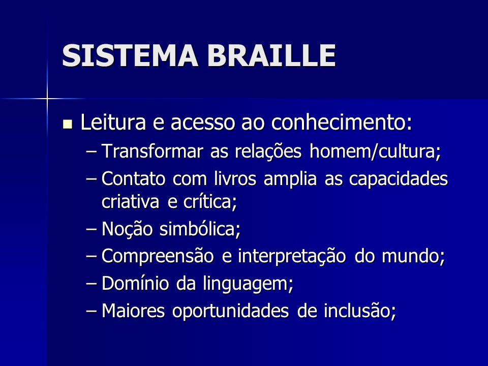 SISTEMA BRAILLE Leitura e acesso ao conhecimento: