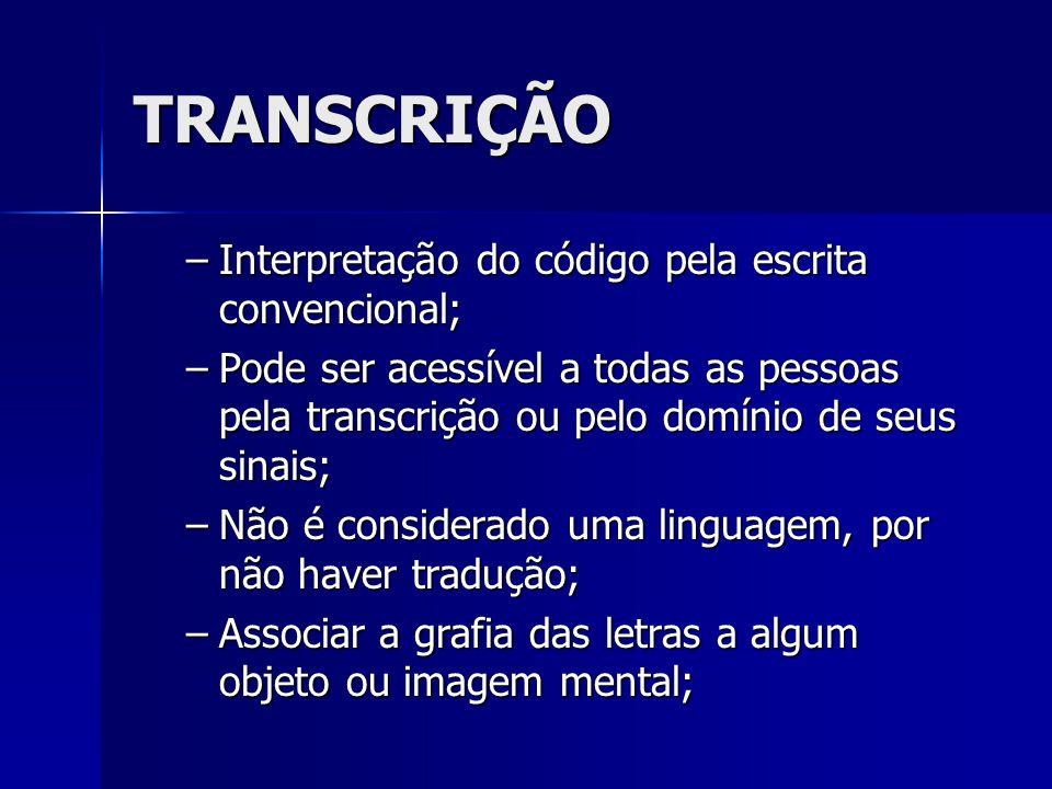 TRANSCRIÇÃO Interpretação do código pela escrita convencional;
