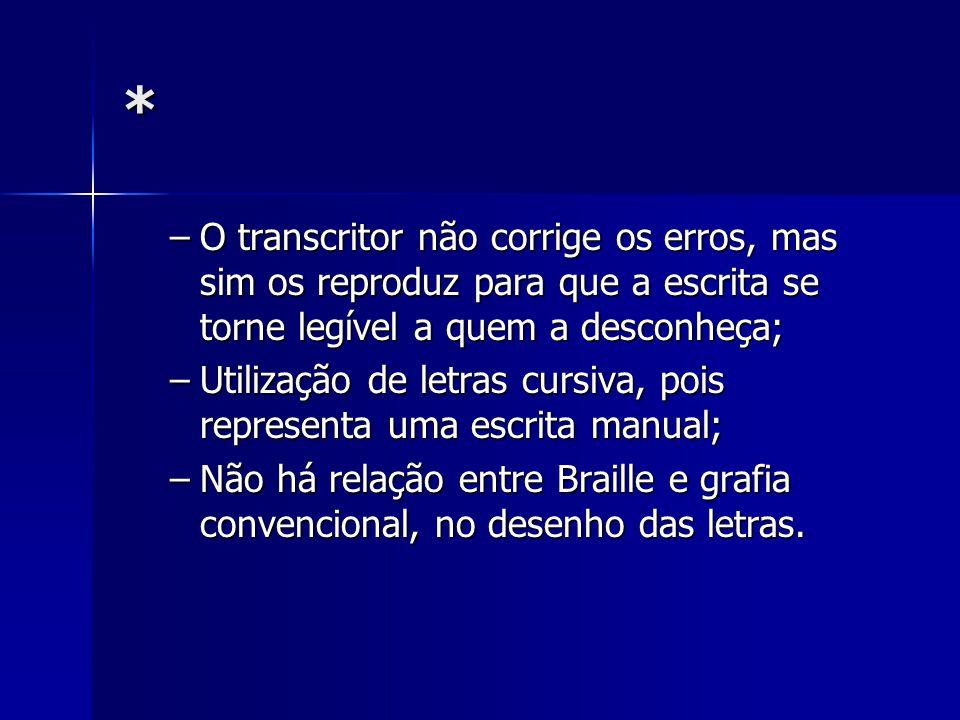 * O transcritor não corrige os erros, mas sim os reproduz para que a escrita se torne legível a quem a desconheça;