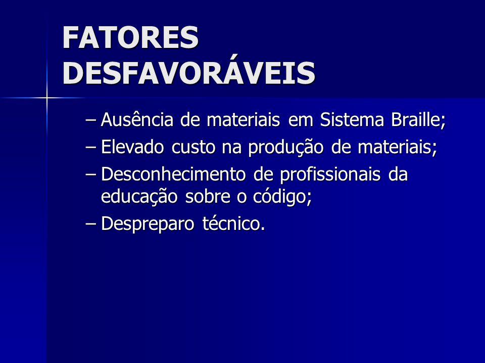 FATORES DESFAVORÁVEIS