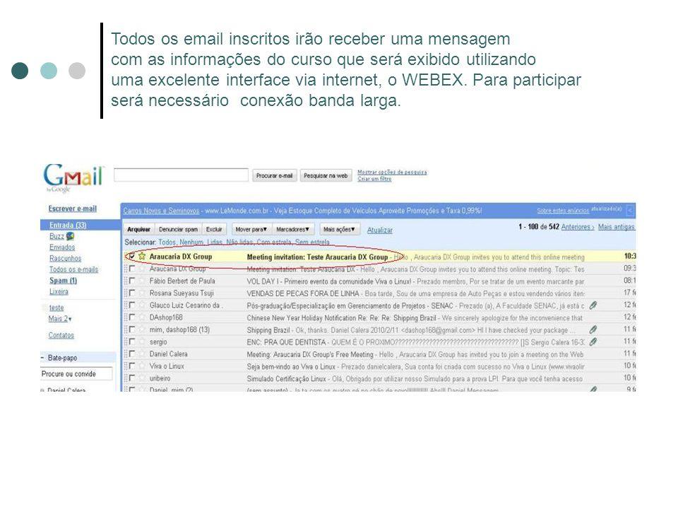 Todos os email inscritos irão receber uma mensagem