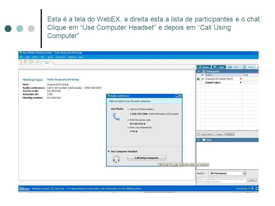 Esta é a tela do WebEX, a direita esta a lista de participantes e o chat.