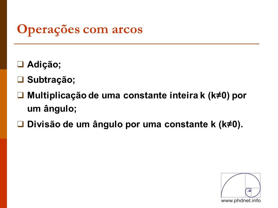 Operações com arcos Adição; Subtração;