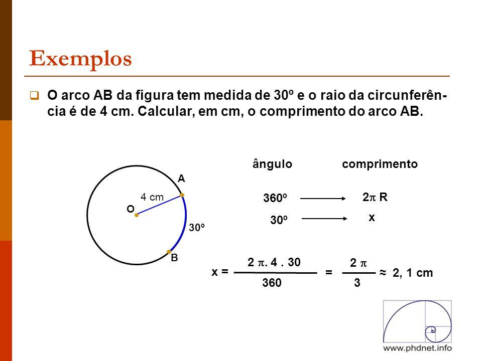 Exemplos O arco AB da figura tem medida de 30º e o raio da circunferên-cia é de 4 cm. Calcular, em cm, o comprimento do arco AB.