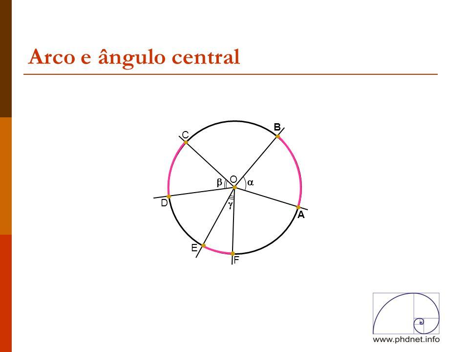 Arco e ângulo central B C  O  D  A E F