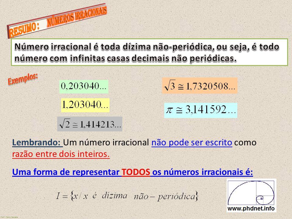 Uma forma de representar TODOS os números irracionais é:
