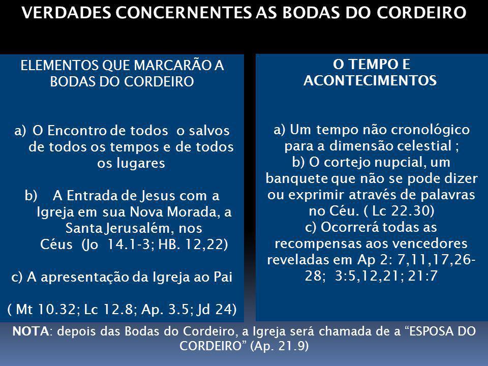 VERDADES CONCERNENTES AS BODAS DO CORDEIRO O TEMPO E ACONTECIMENTOS