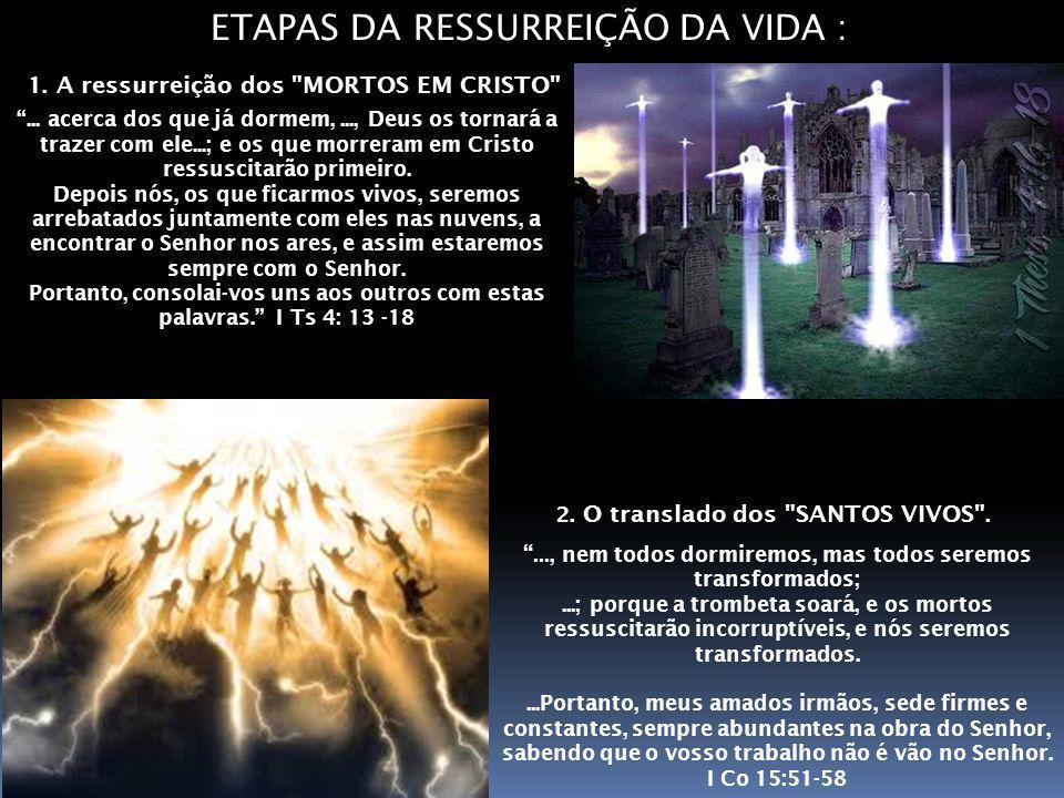 ETAPAS DA RESSURREIÇÃO DA VIDA :