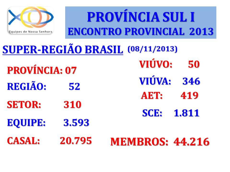 PROVÍNCIA SUL I SUPER-REGIÃO BRASIL SCE: 1.811 MEMBROS: 44.216