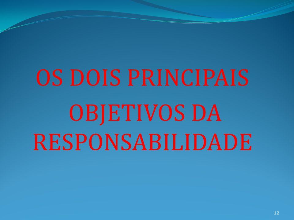 OS DOIS PRINCIPAIS OBJETIVOS DA RESPONSABILIDADE