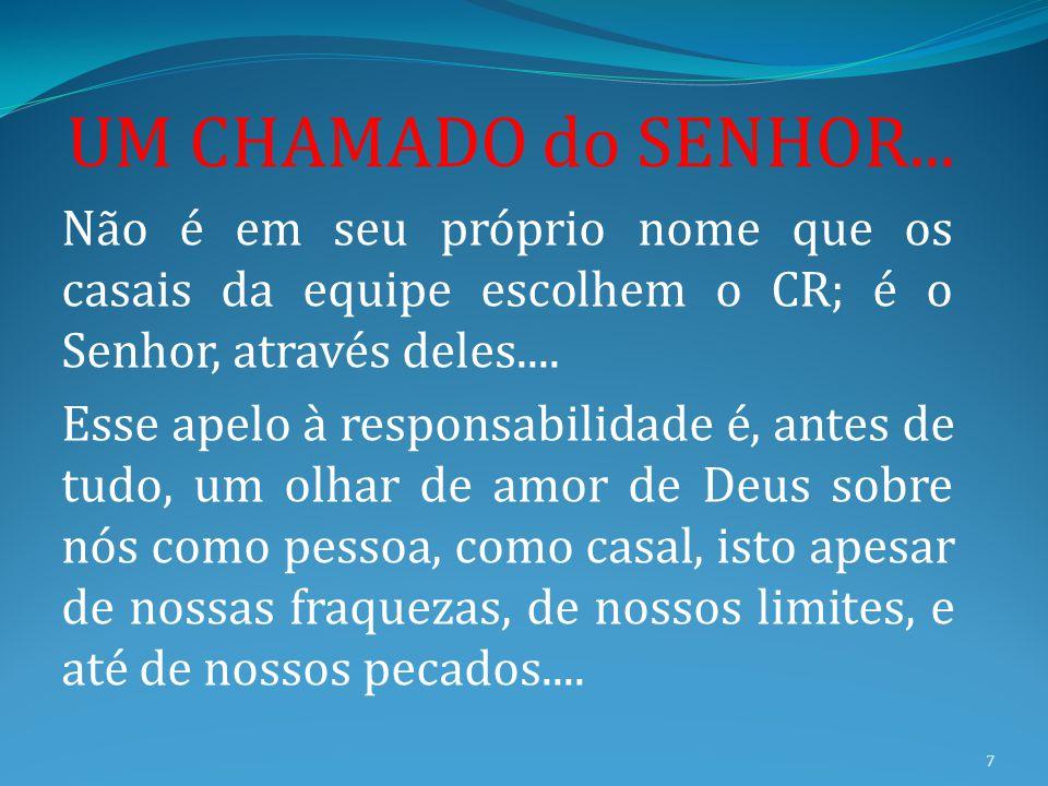 UM CHAMADO do SENHOR... Não é em seu próprio nome que os casais da equipe escolhem o CR; é o Senhor, através deles....