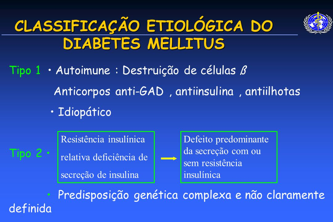 CLASSIFICAÇÃO ETIOLÓGICA DO DIABETES MELLITUS