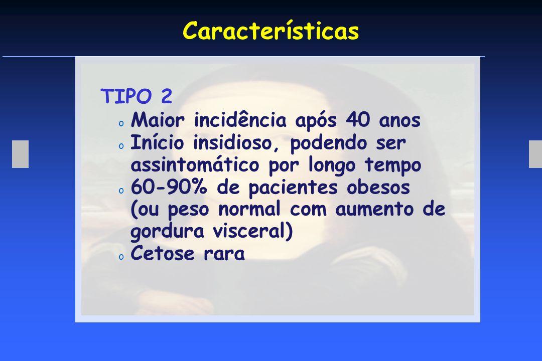 Características TIPO 2 Maior incidência após 40 anos