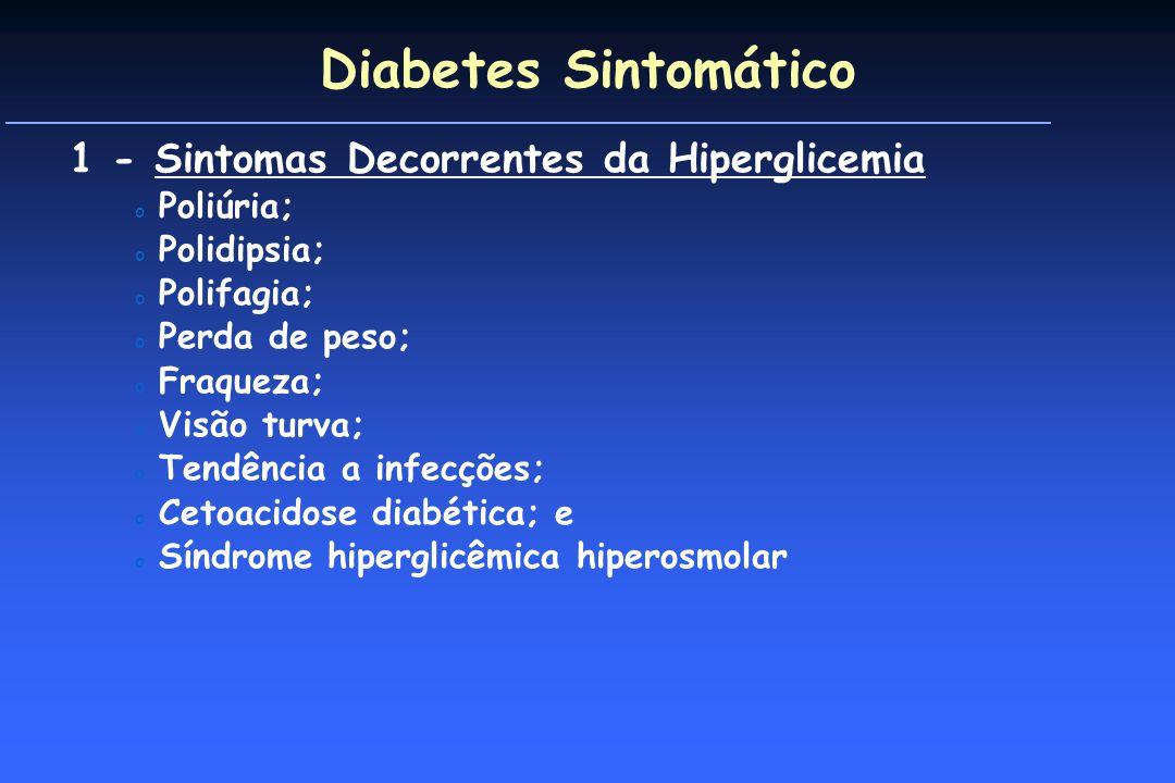 Diabetes Sintomático 1 - Sintomas Decorrentes da Hiperglicemia